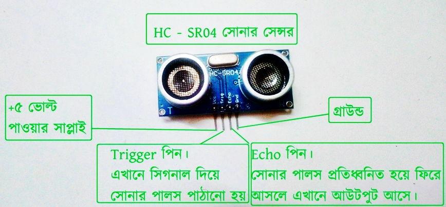 hc-sr04 সোনার সেন্সর মডিউল